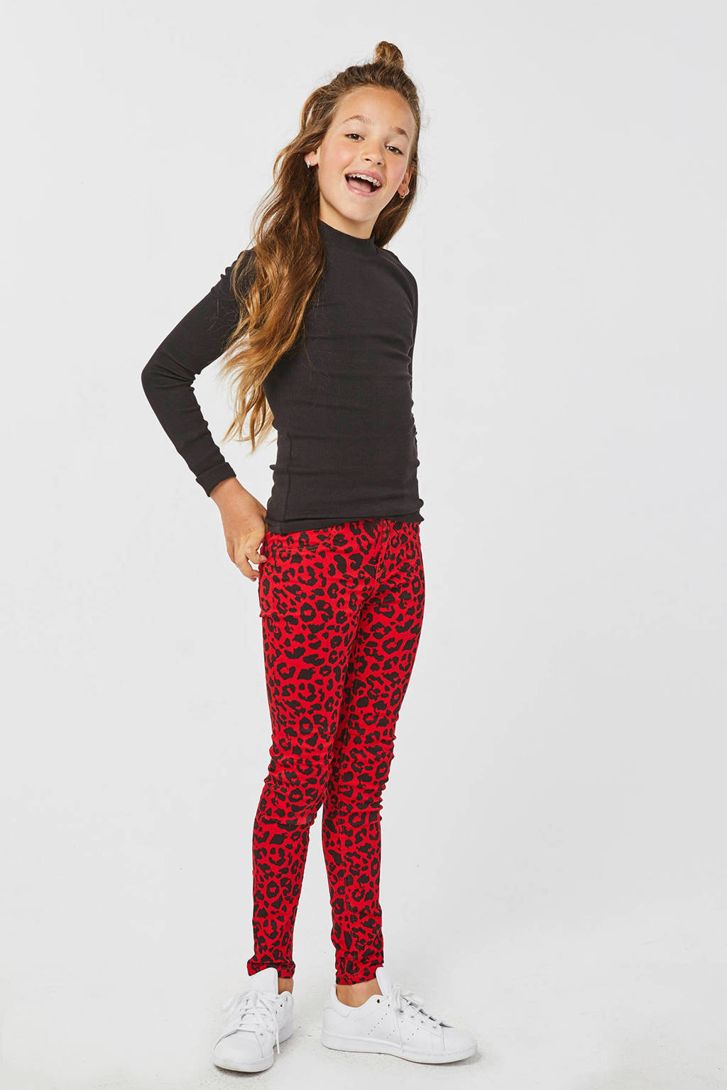 WE Fashion Blue Ridge super skinny broek Yfke met panterprint rood, Rood