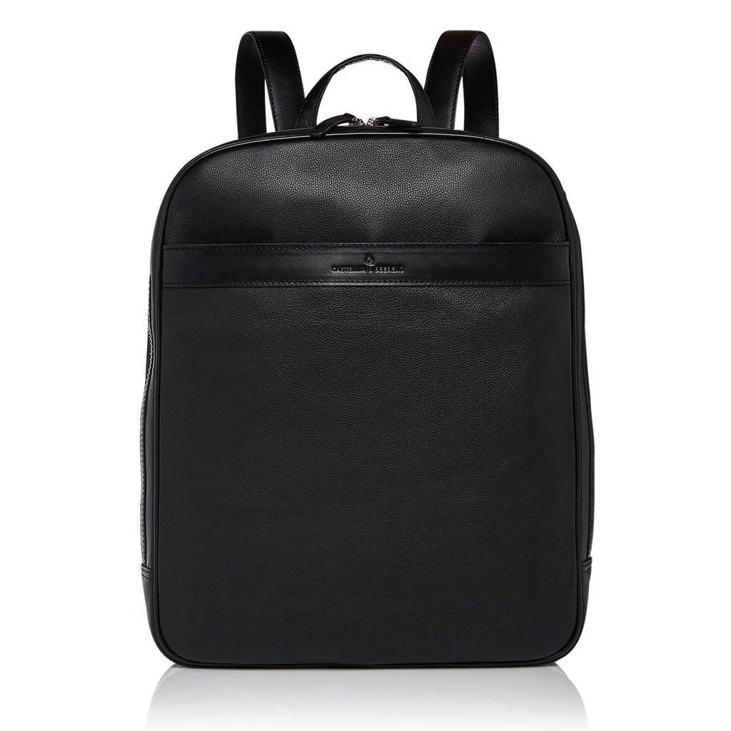 Castelijn & Beerens Vivo 15,6 inch leren laptoptas rugzak, Zwart