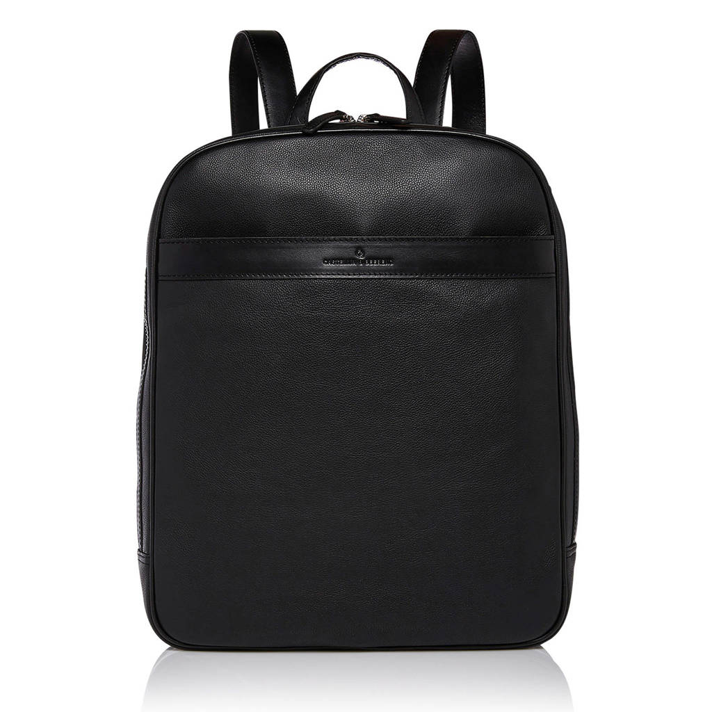 Castelijn & Beerens Vivo 15.6 leren laptoptas rugzak, Zwart