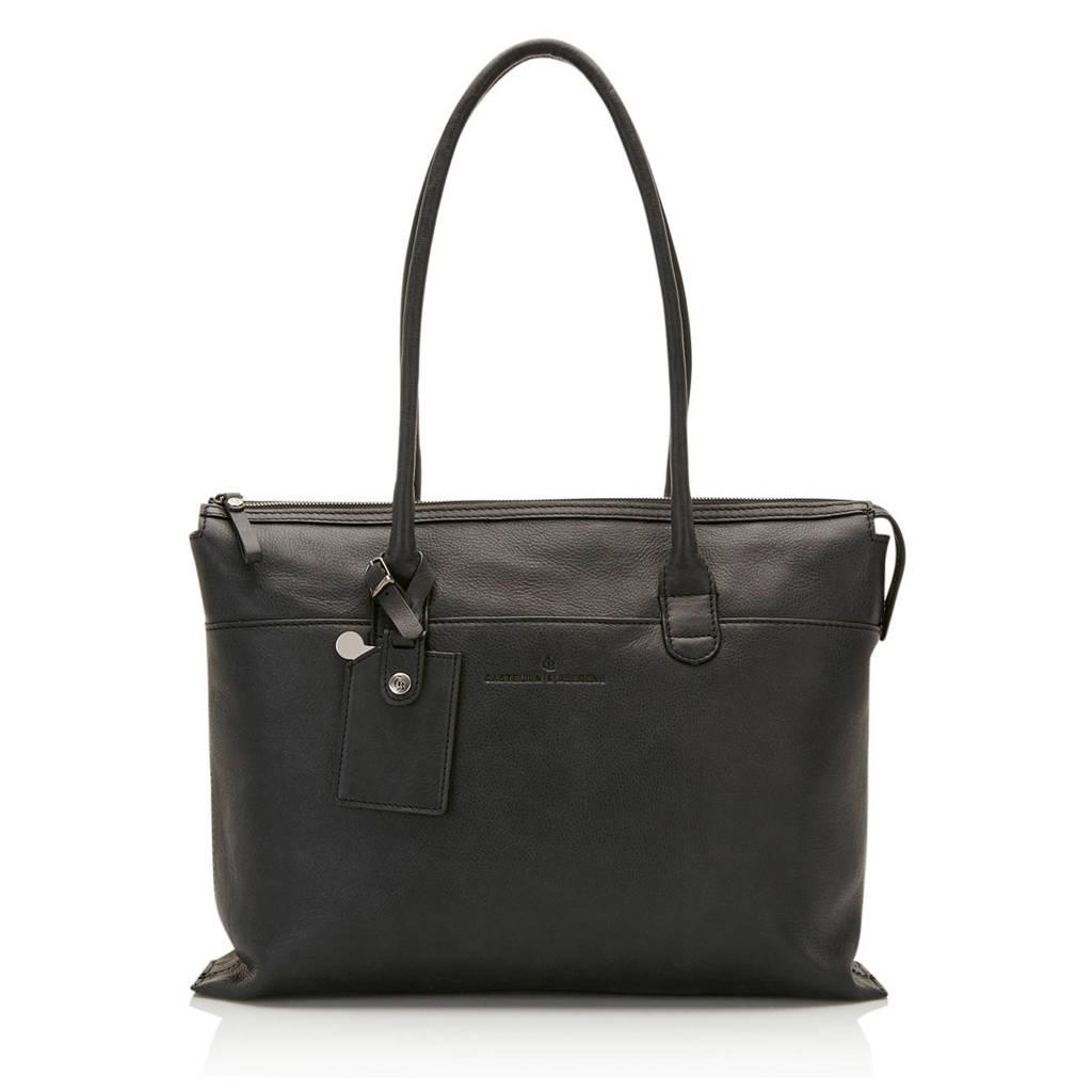 Castelijn & Beerens 15,4 inch Carisma leren laptoptas zwart, Zwart