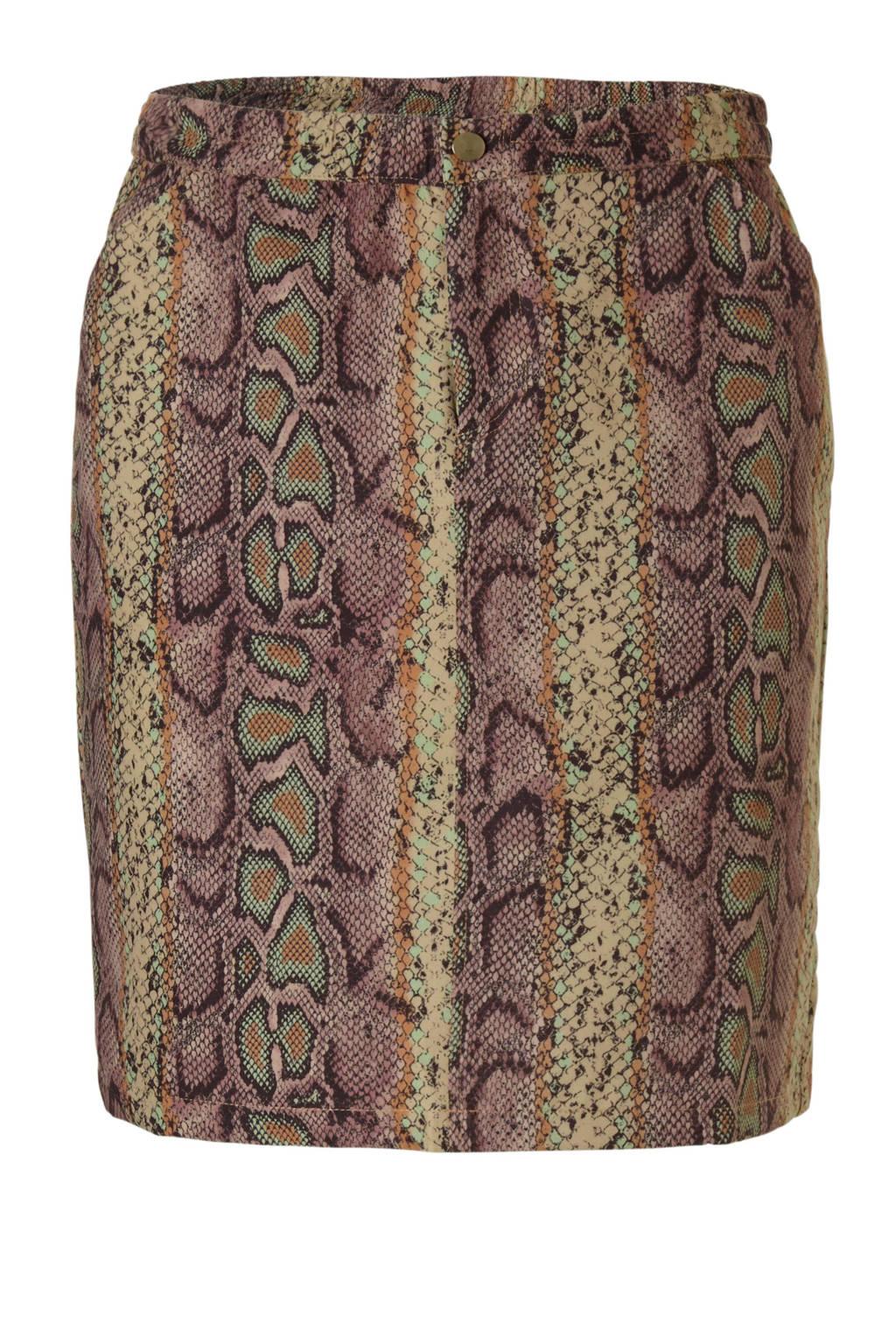 October rok met slangenprint, Bruin