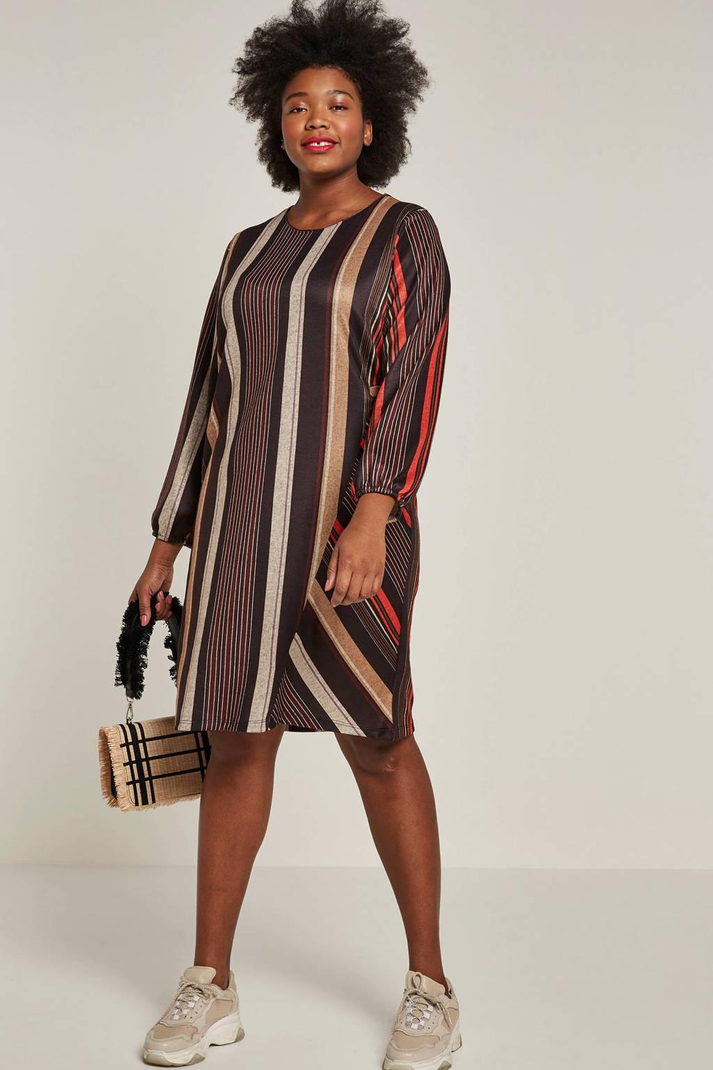 October jurk met strepen, Bruin/rood/grijs/oranje