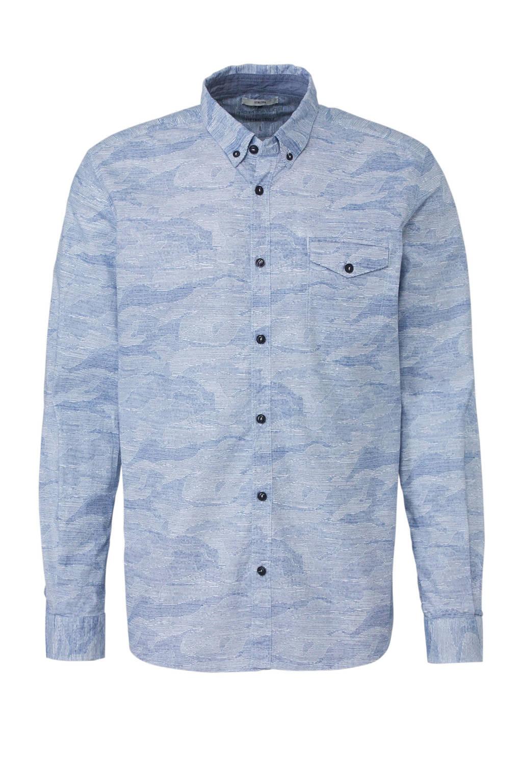 Tom Tailor regular fit overhemd met print blauw, Blauw
