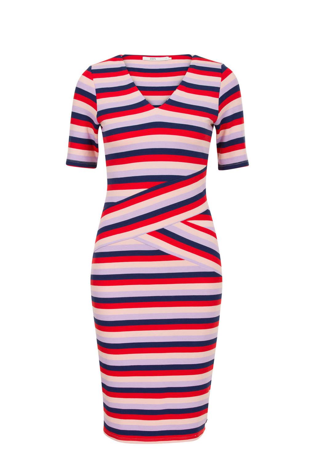 Steps jurk met strepen, Rood/blauw/roze