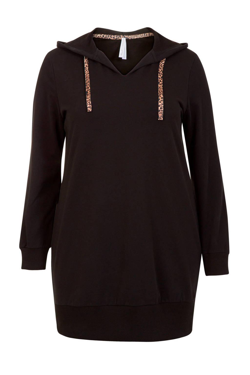 Miss Etam Plus lange hoodie, Zwart