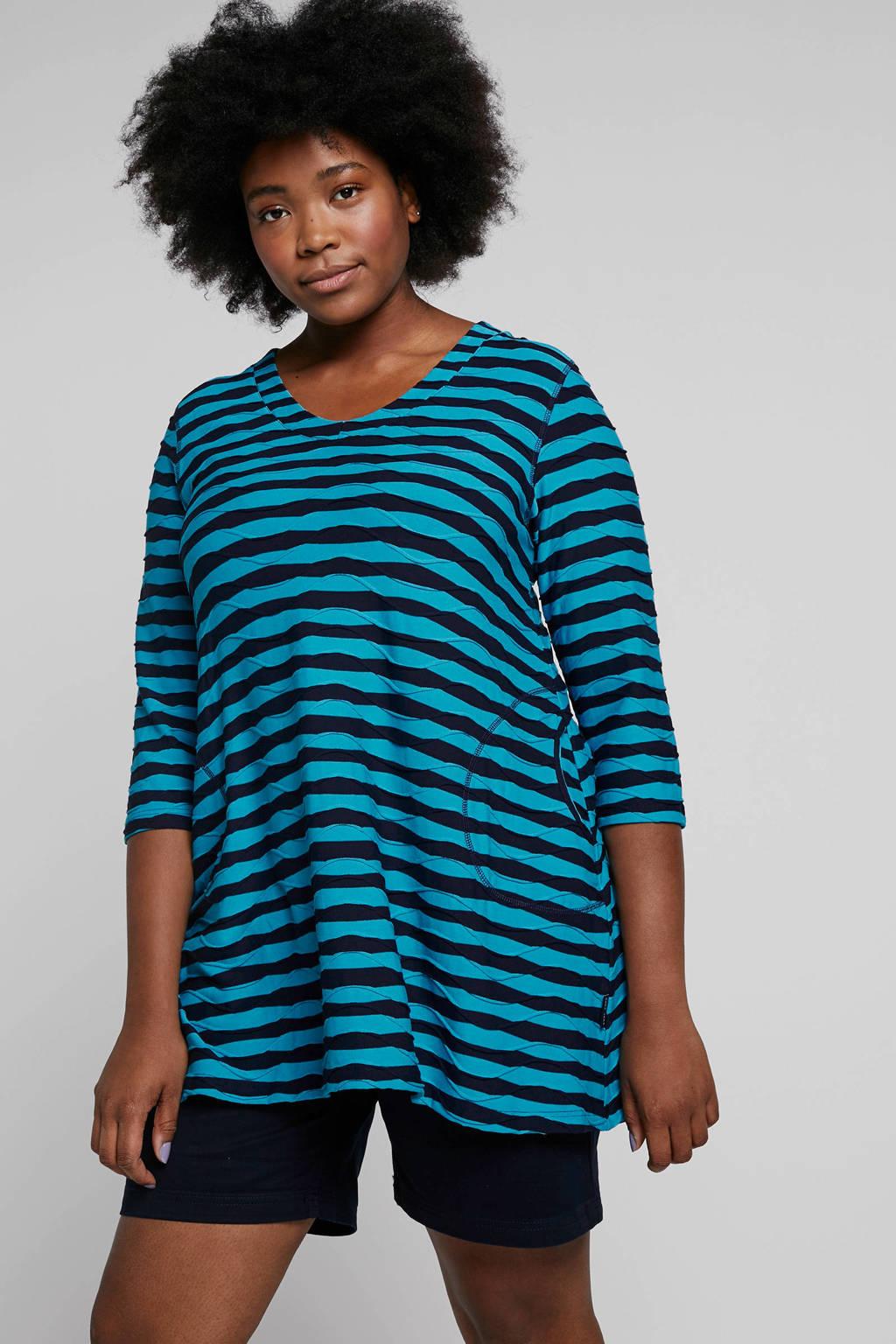 PONT NEUF tuniek met strepen, Blauw/zwart
