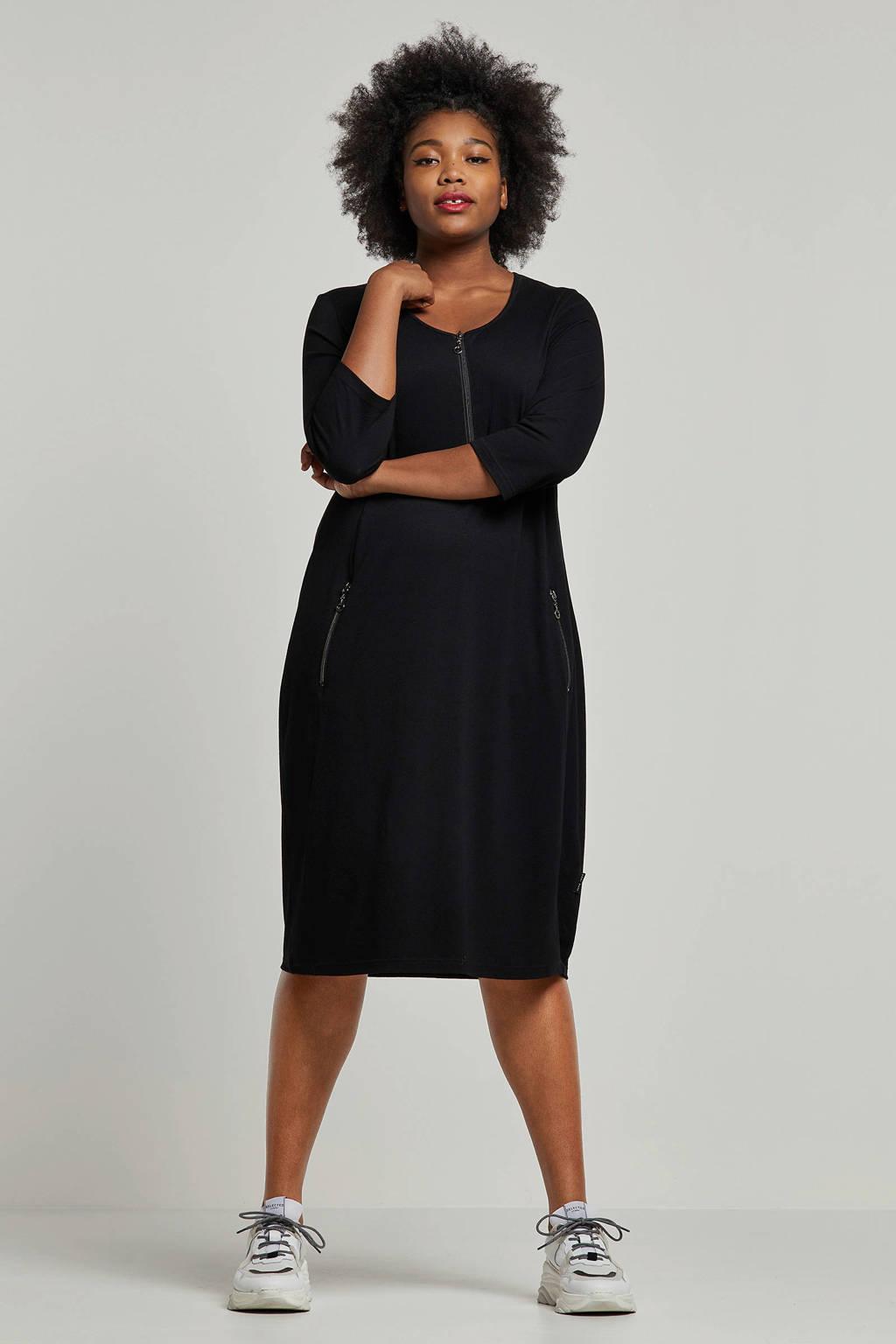 PONT NEUF jurk met ritsdetails, Zwart