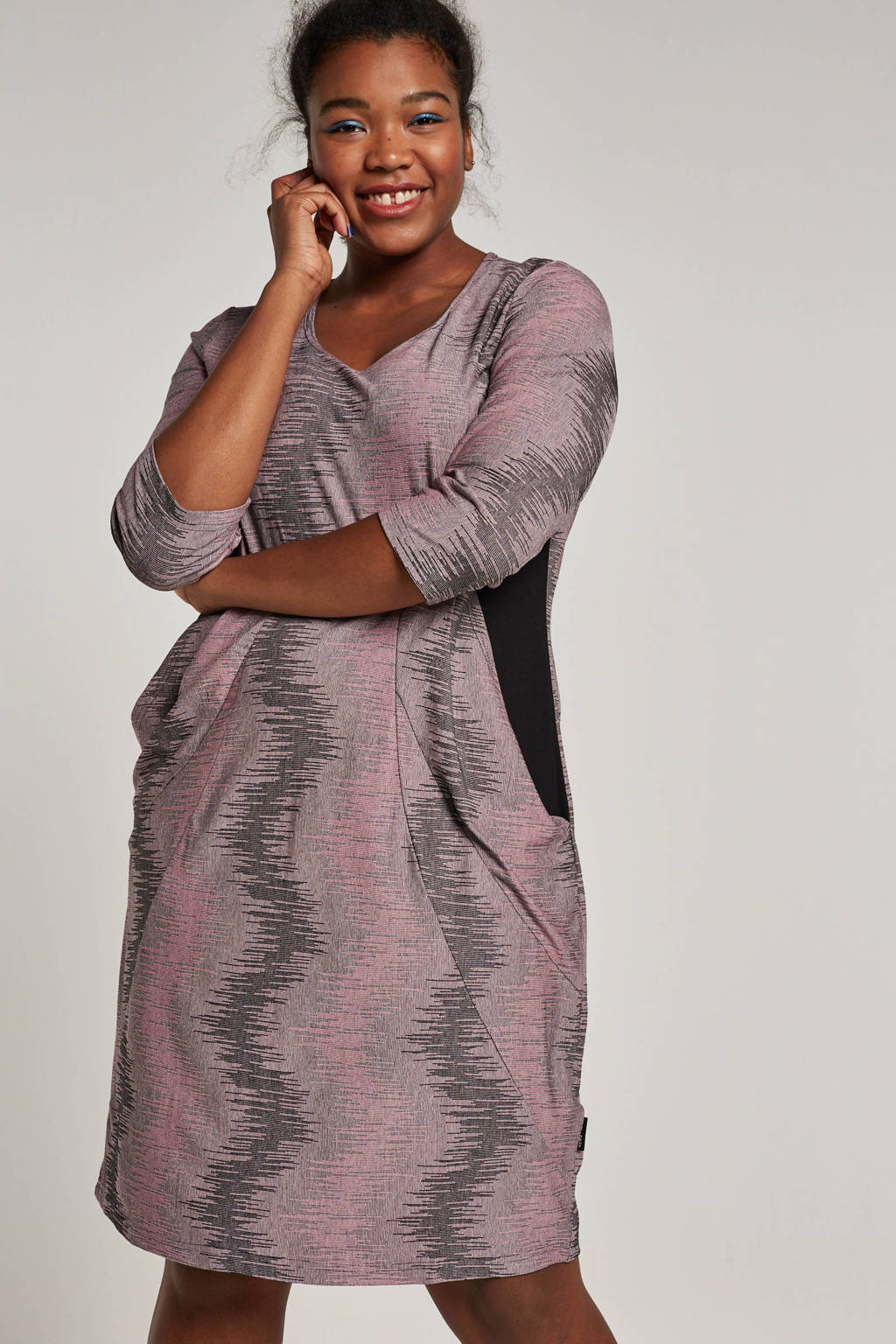 PONT NEUF jurk met steekzakken, Roze/zwart
