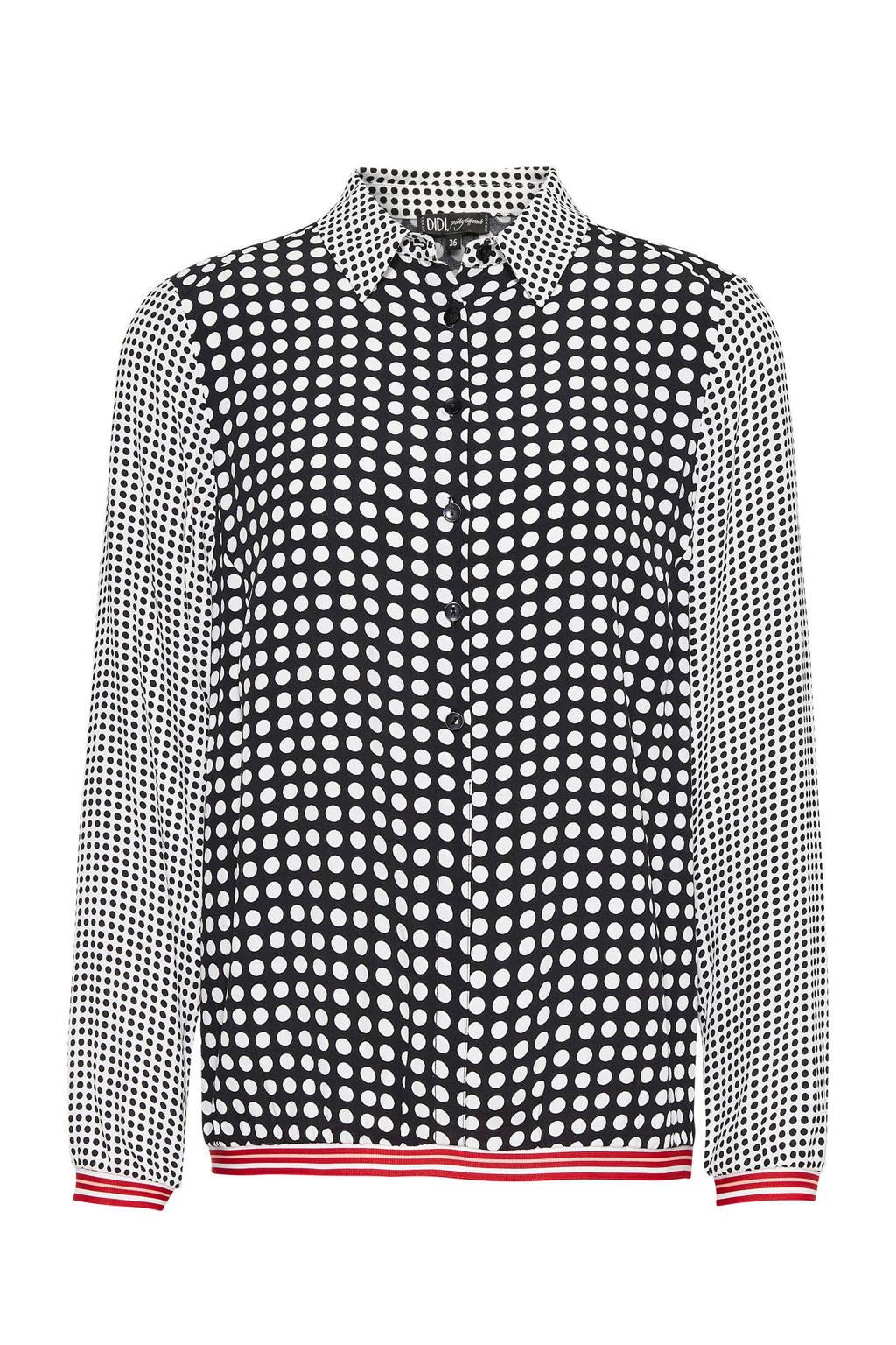 Didi blouse met stippenprint zwart, Zwart