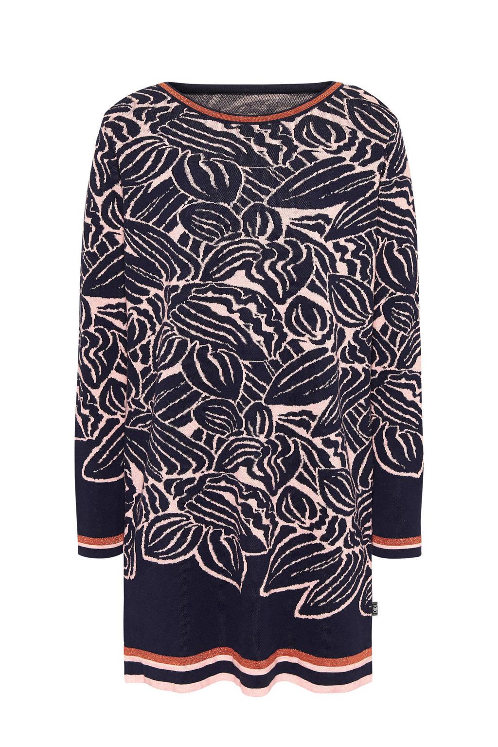 Didi jurk met ingebreid patroon, Donkerblauw