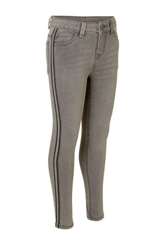 Here & There super skinny jeans met zijstreep grijs