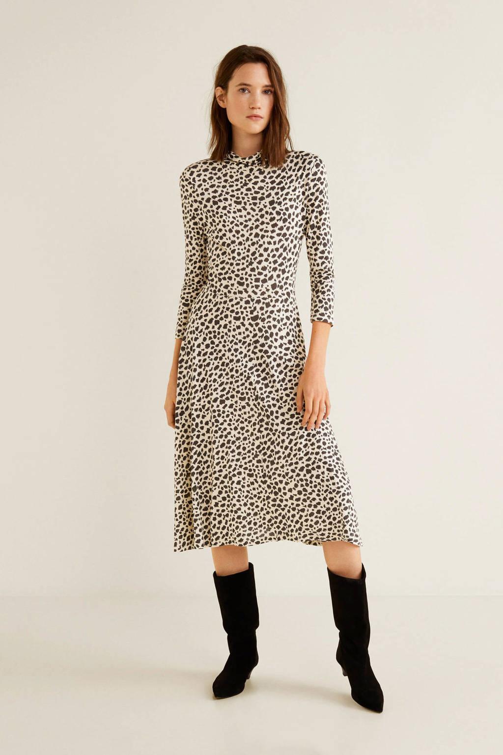 Mango jurk met panter print, Beige/bruin