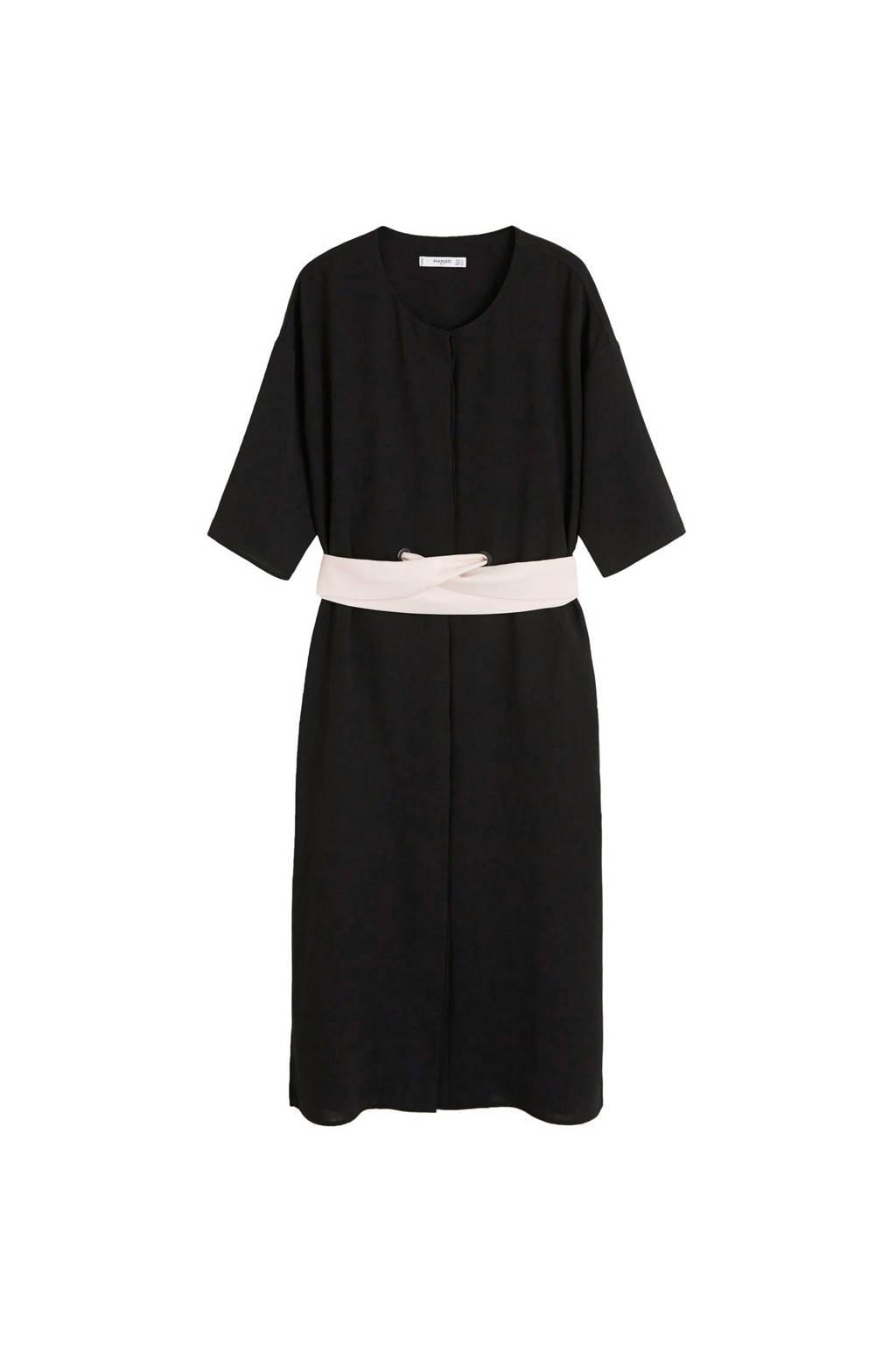 Mango jurk met bindceintuur, Zwart