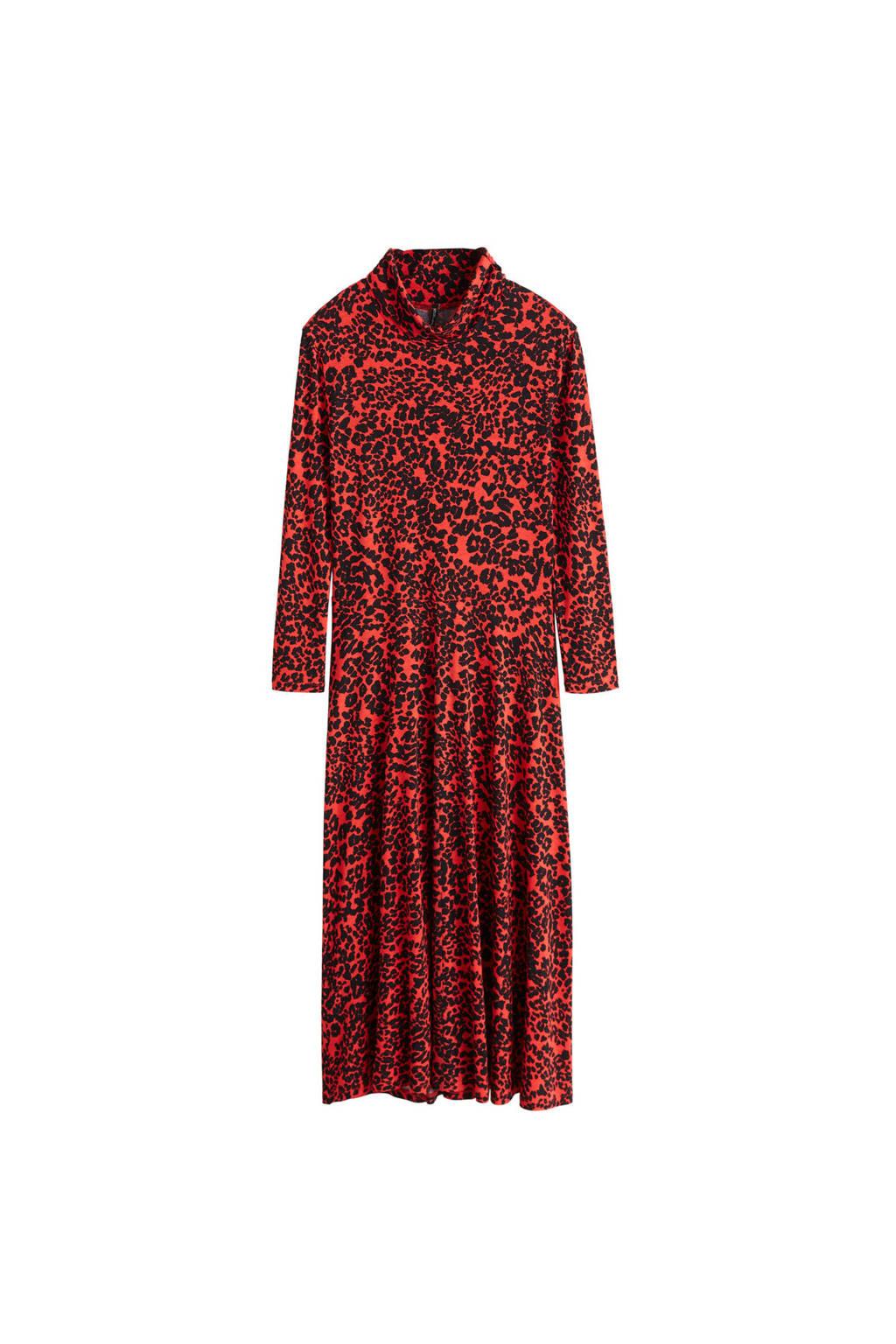 Mango jurk met panterprint rood, Rood