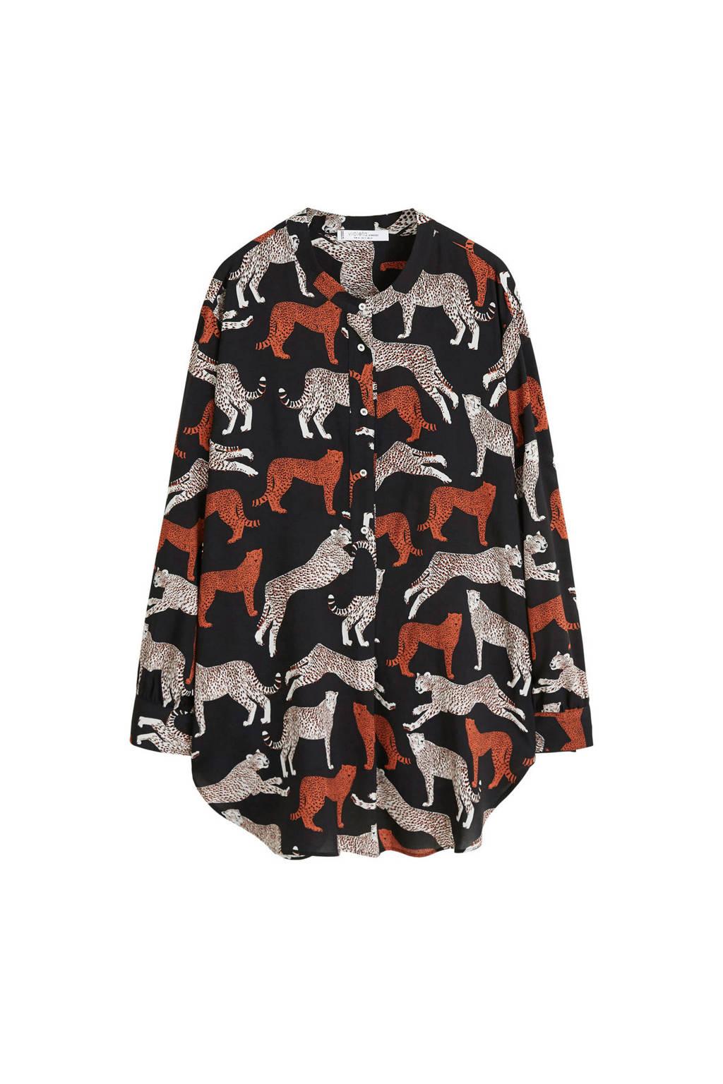 Violeta by Mango blouse met luipaardprint, Zwart