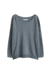 Violeta by Mango T-shirt met sierknopen grijs