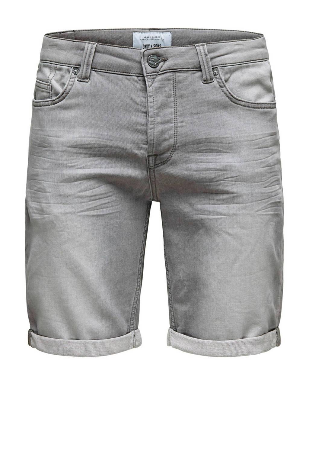 Only & Sons slim fit jeans short, Grey denim