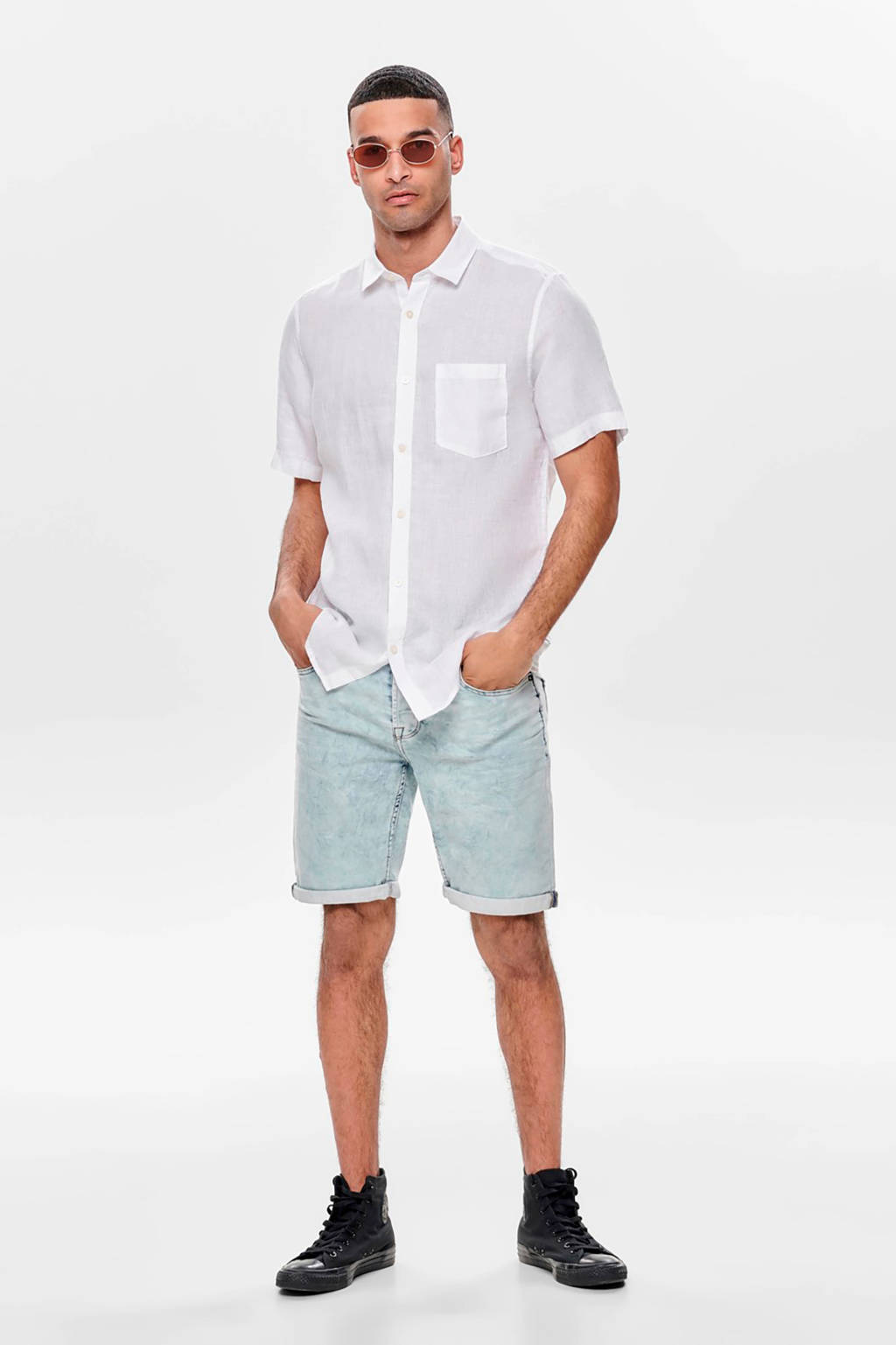 ONLY & SONS linnen regular fit overhemd wit, Wit
