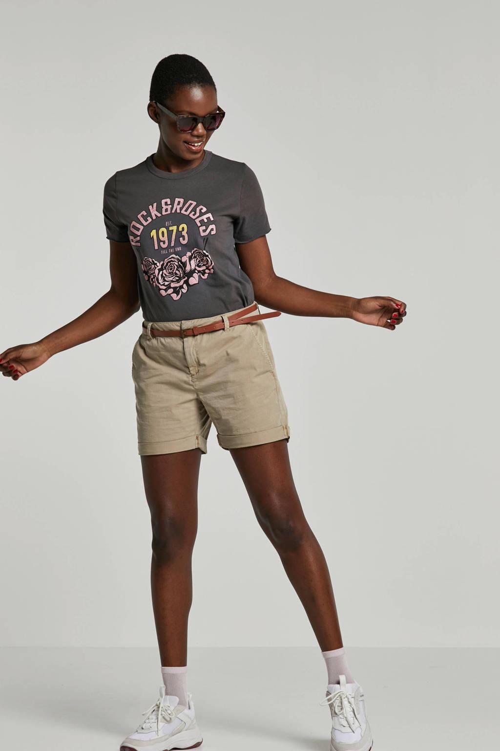 ONLY T-shirt met opdruk grijs, Grijs/roze