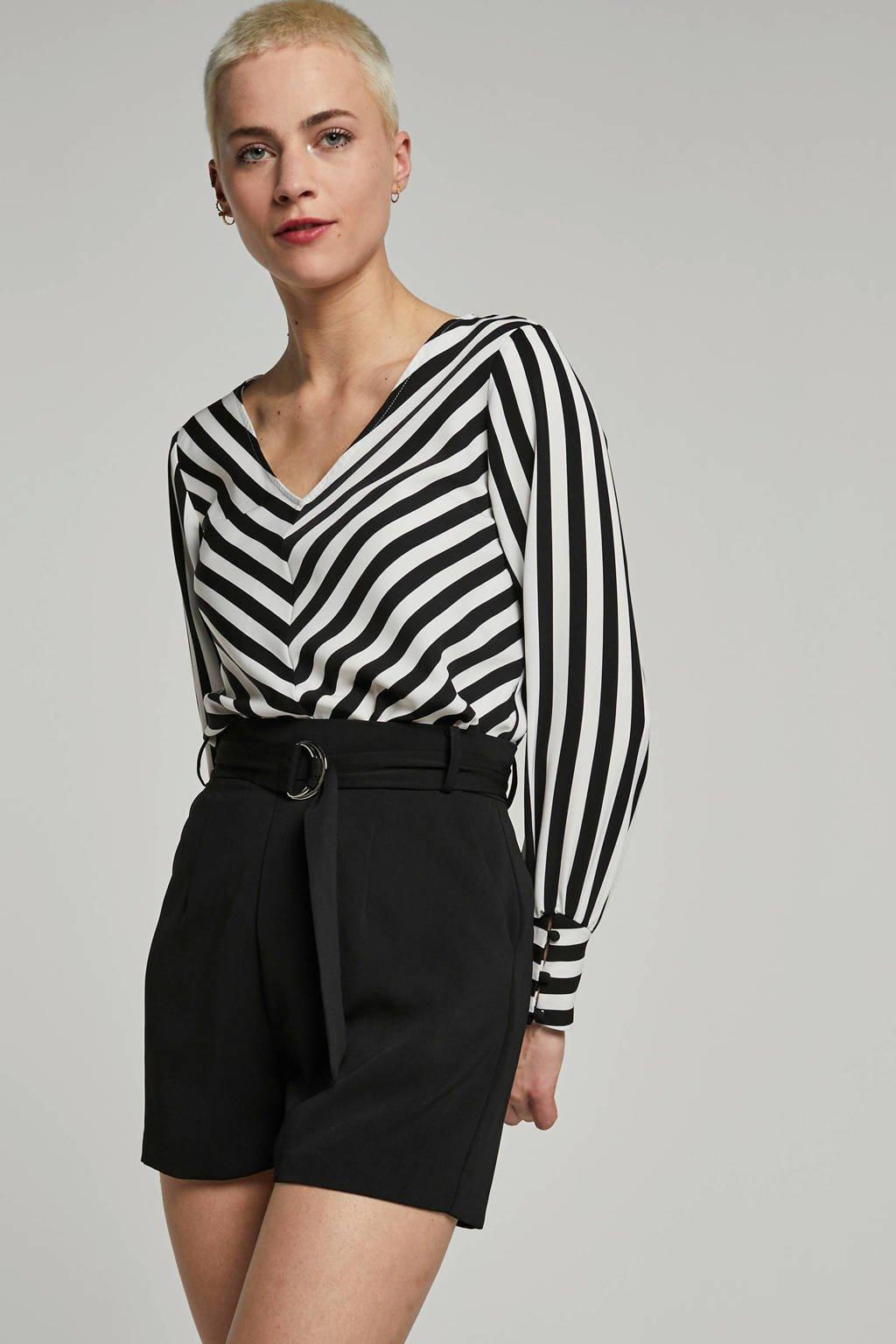 ONLY blouse met strepen, zwart/ wit