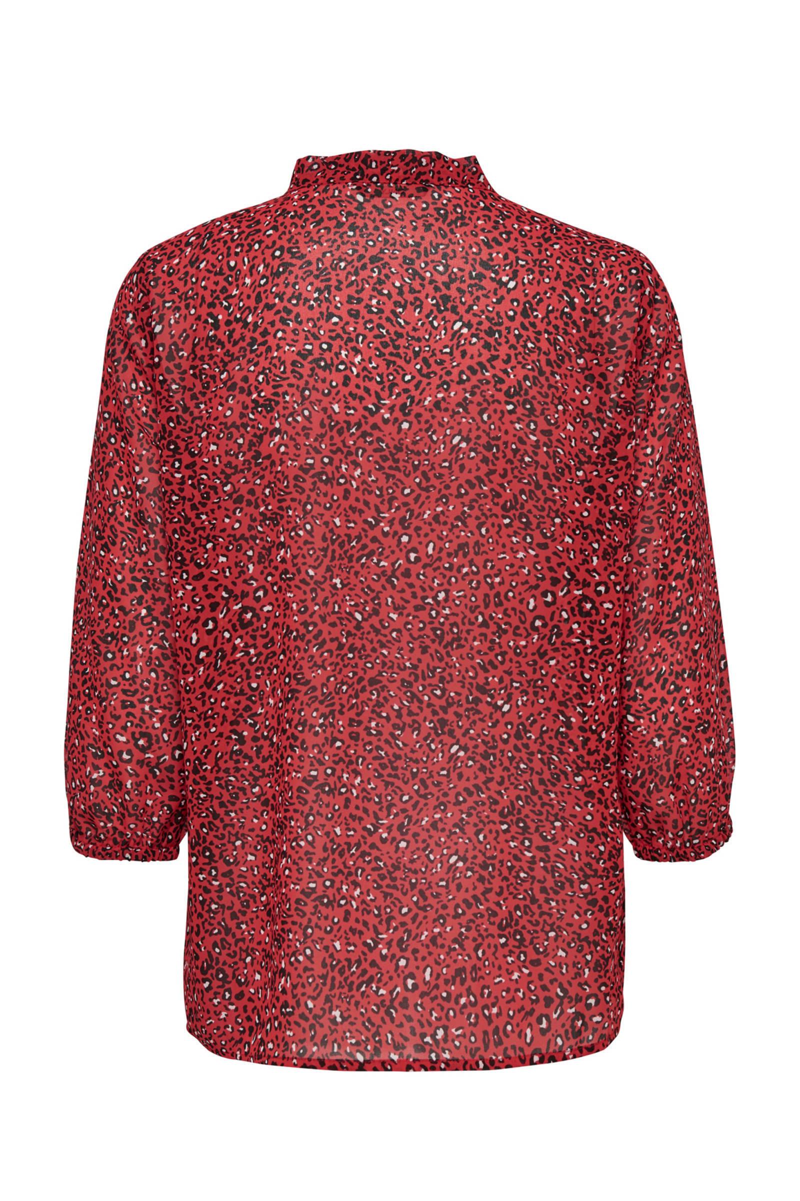 met blouse volant en panterprint ONLY wpq6X0x7A