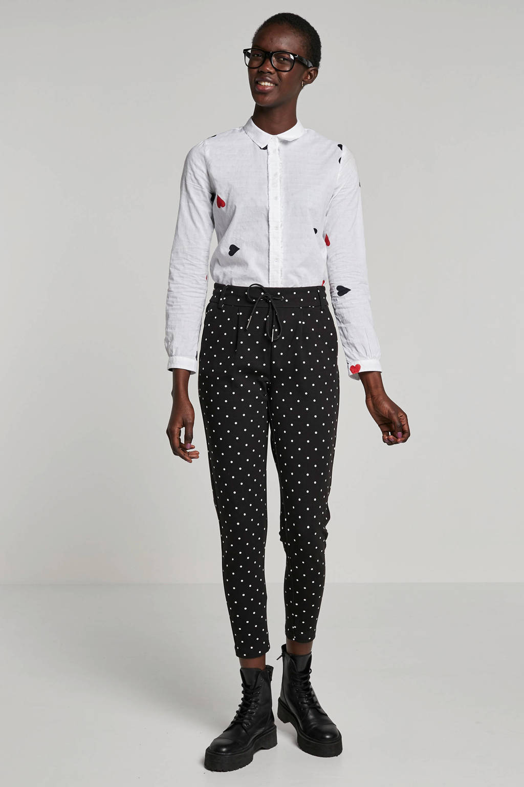 ONLY slim fit broek met stippen, Zwart/wit