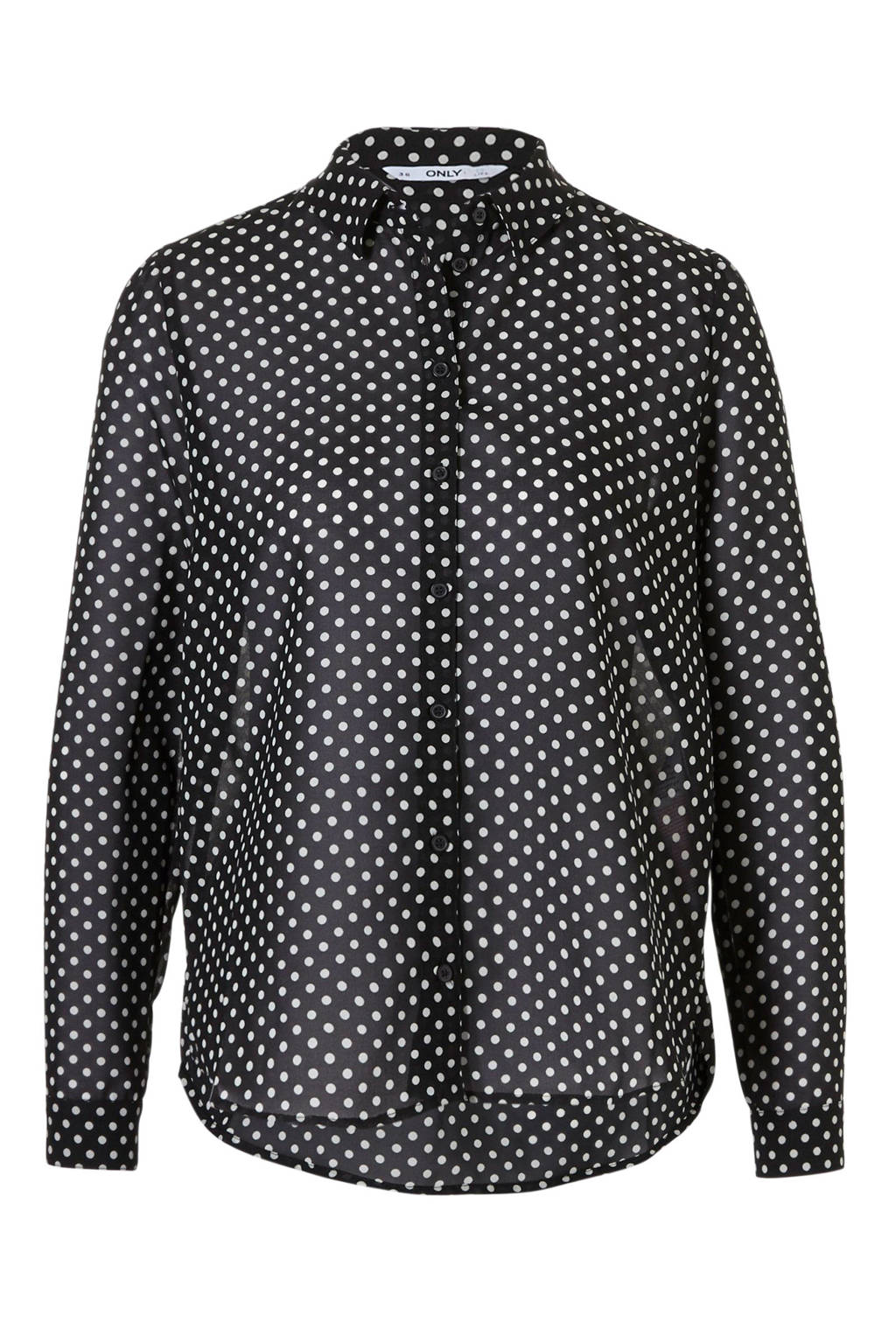 ONLY blouse met stippen, Zwart