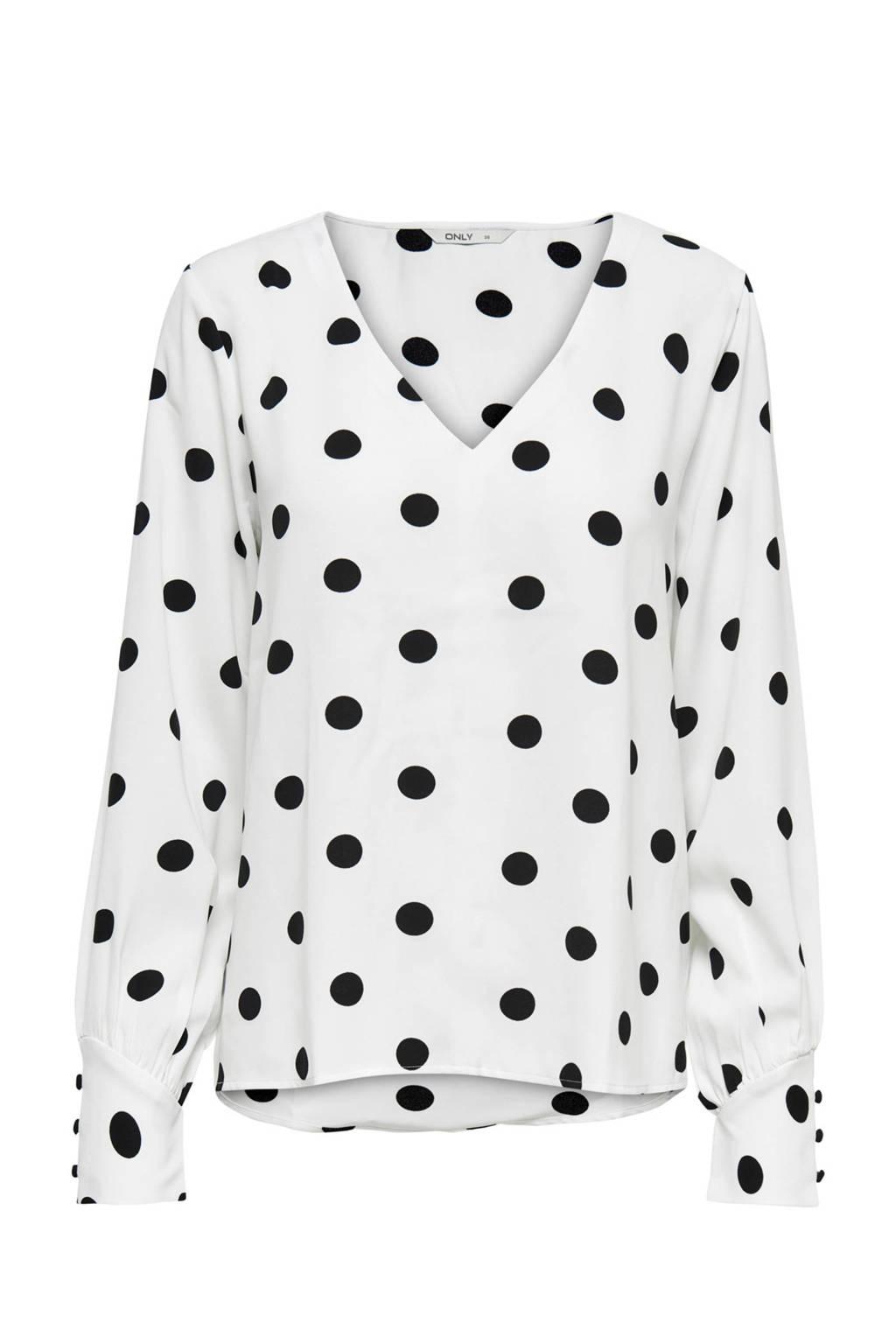 ONLY blouse met stippen, wit/ zwart