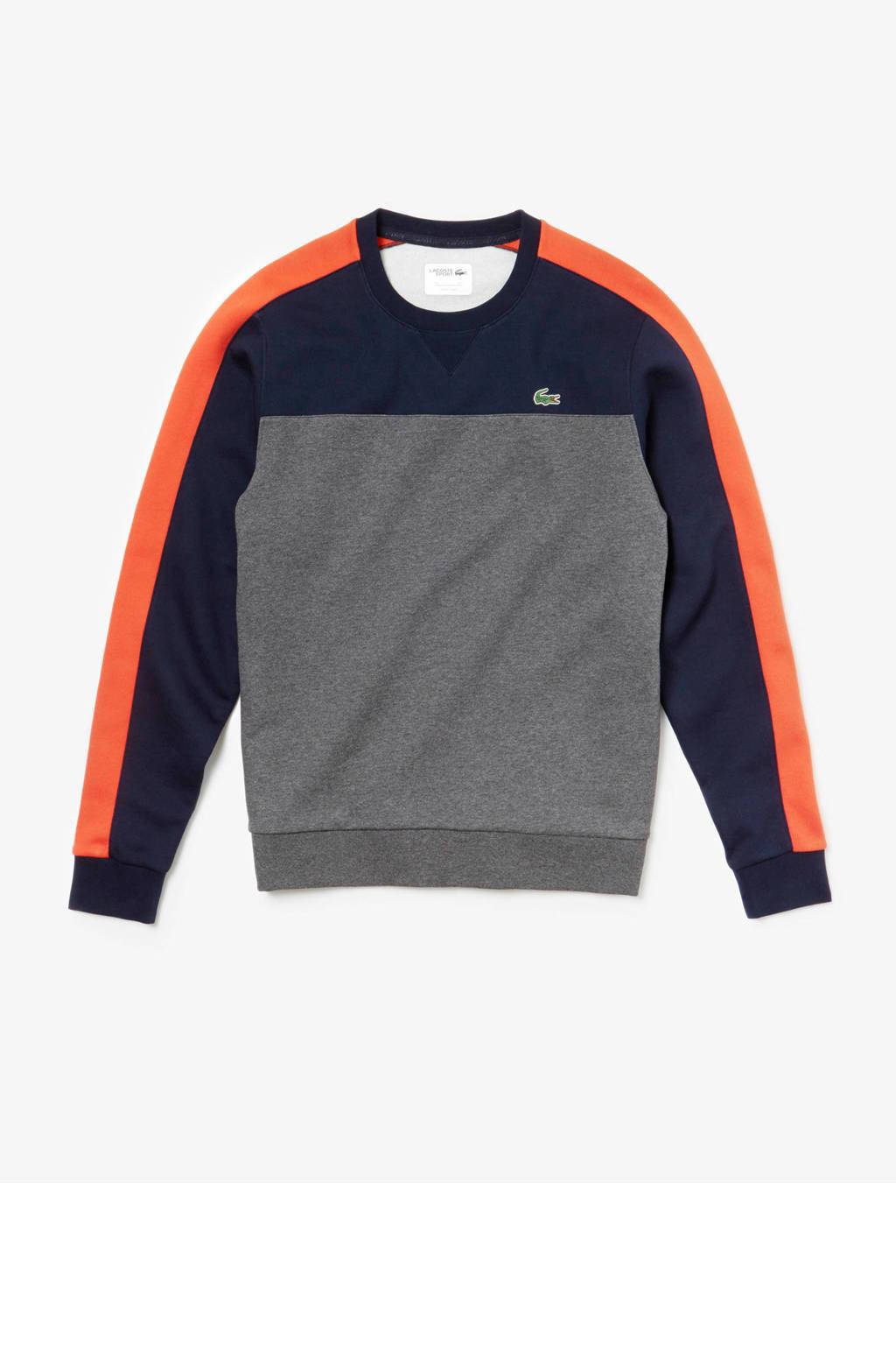 Lacoste   sportsweater donkerblauw/grijs/oranje, Donkerblauw/grijs/oranje