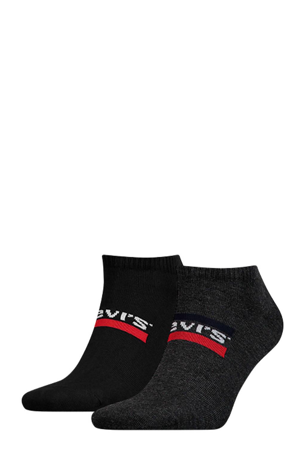 Levi's sneakersokken grijs/zwart ( set van 2), Grijs/zwart