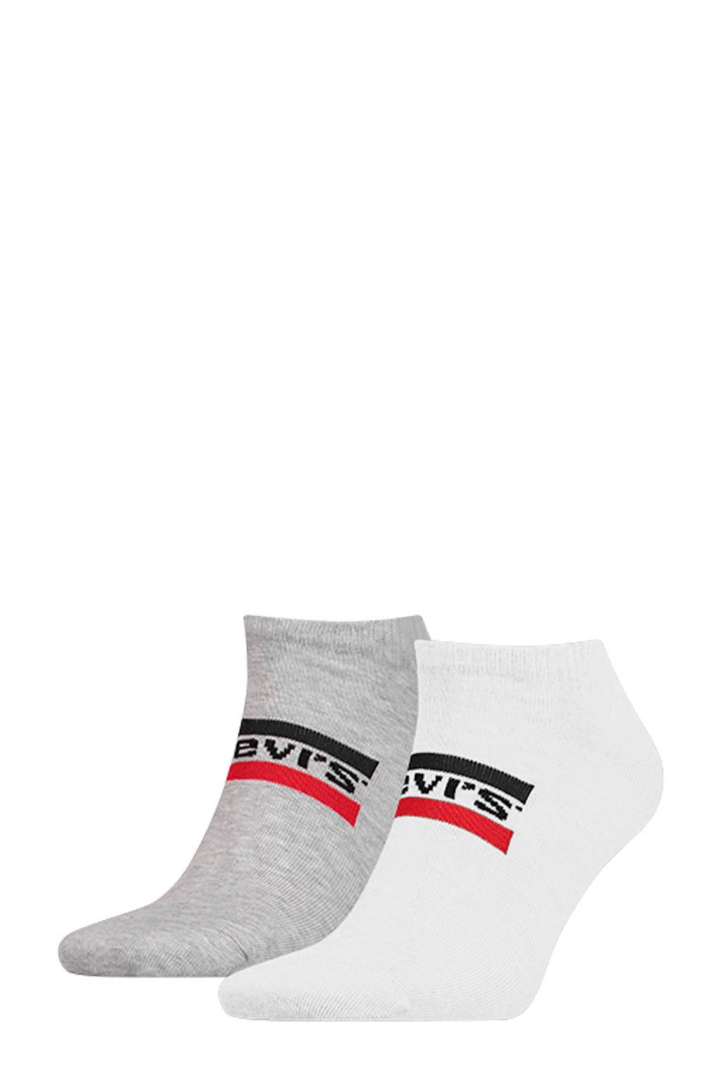 Levi's sneakersokken wit/grijs ( set van 2), Wit/grijs