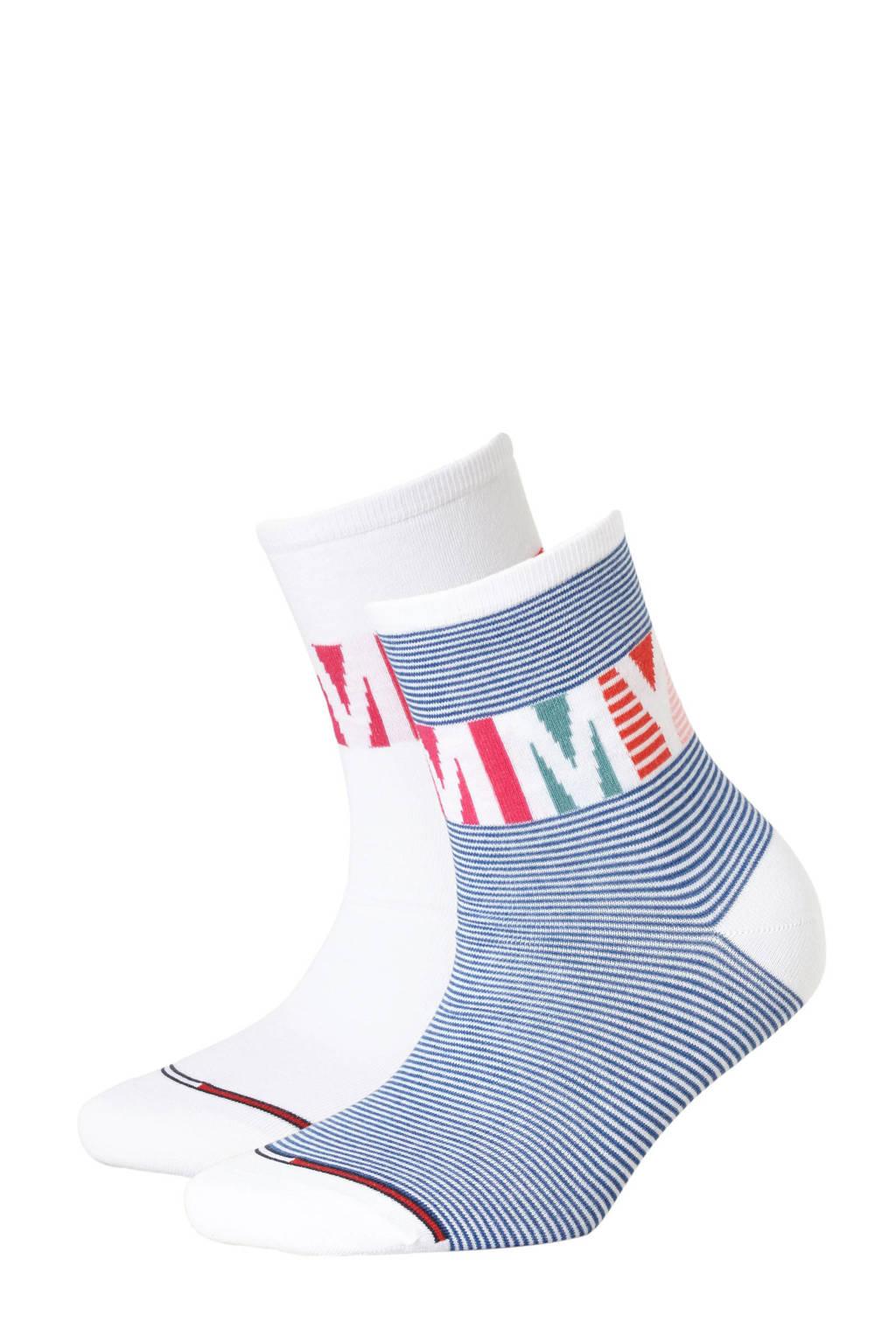 Tommy Hilfiger sneakersokken set van 2 blauw/wit, Blauw/wit