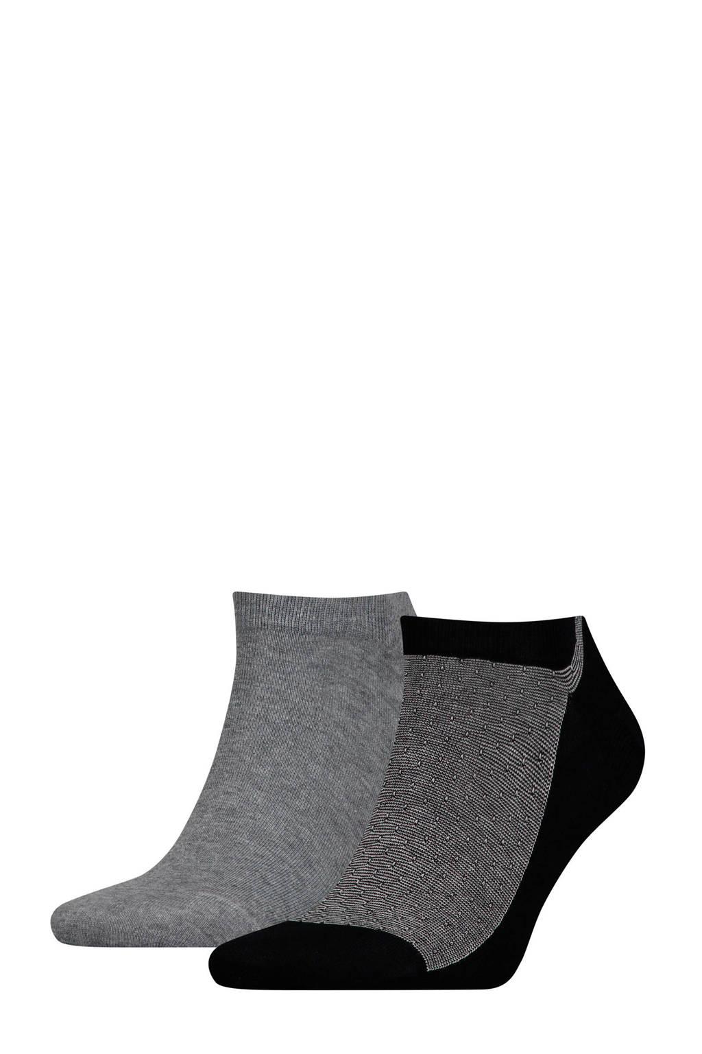 Tommy Hilfiger sneakersokken grijs set van 2, Zwart/grijs