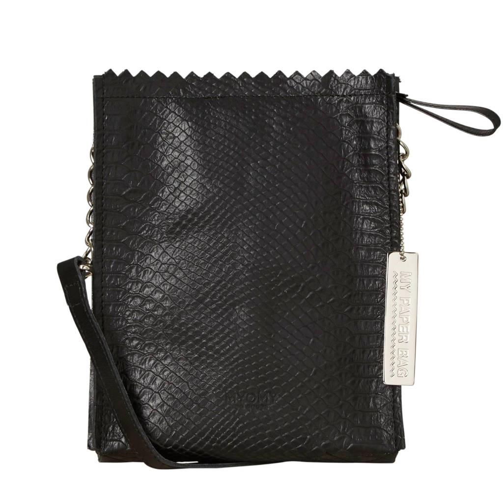 MYOMY My paperbag  MY PAPER BAG - Baggy cross body leren tas, Zwart