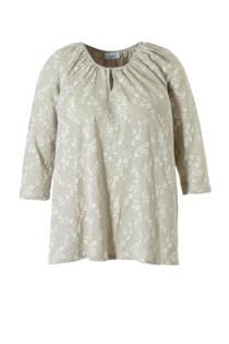 C&A XL Yessica T-shirt met geborduurd dessin beige