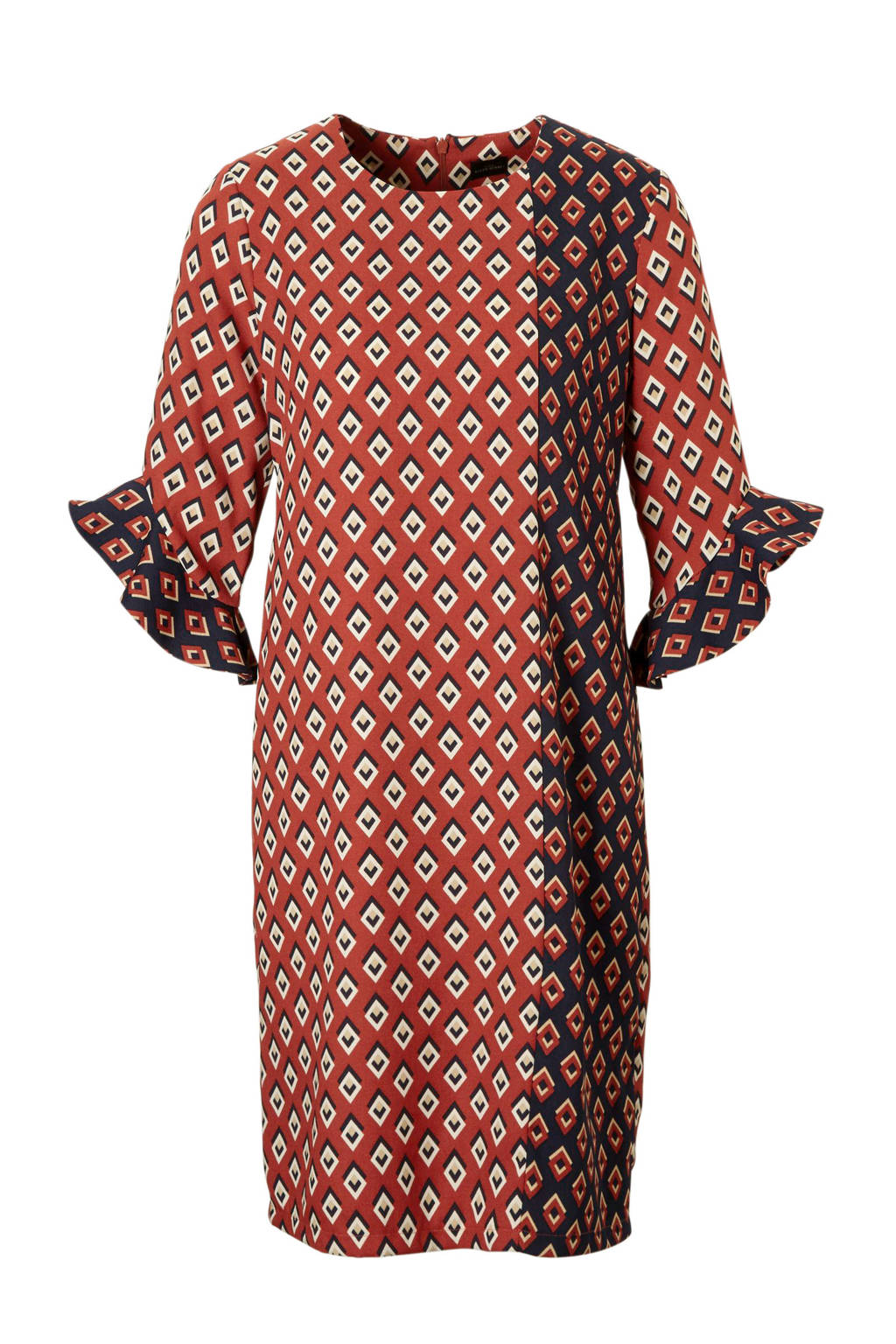 C&A YSS Shop jurk met all over print brique, Brique/donkerblauw