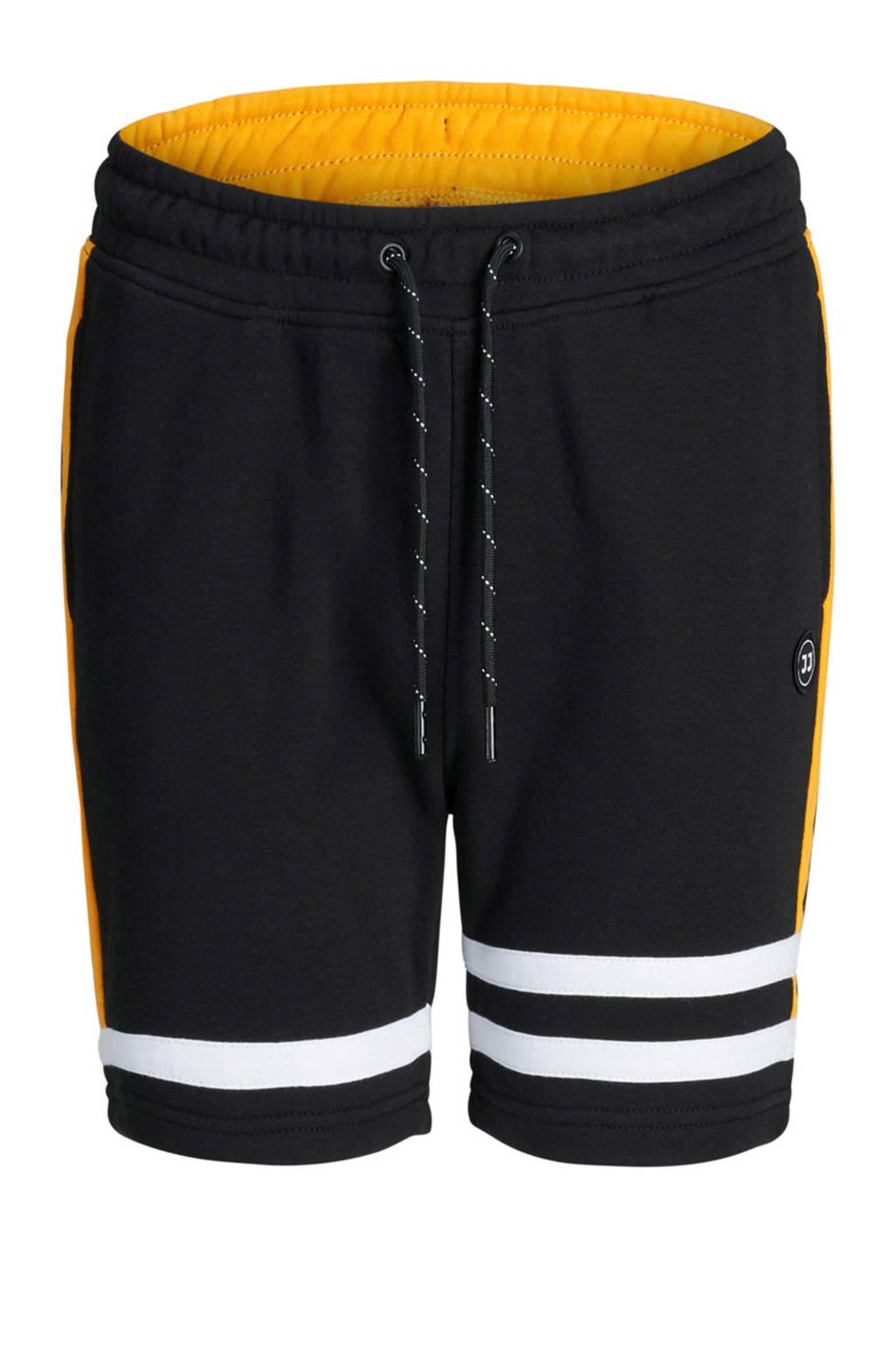 Jack & Jones Junior sweatshort Blair zwart, Zwart/wit