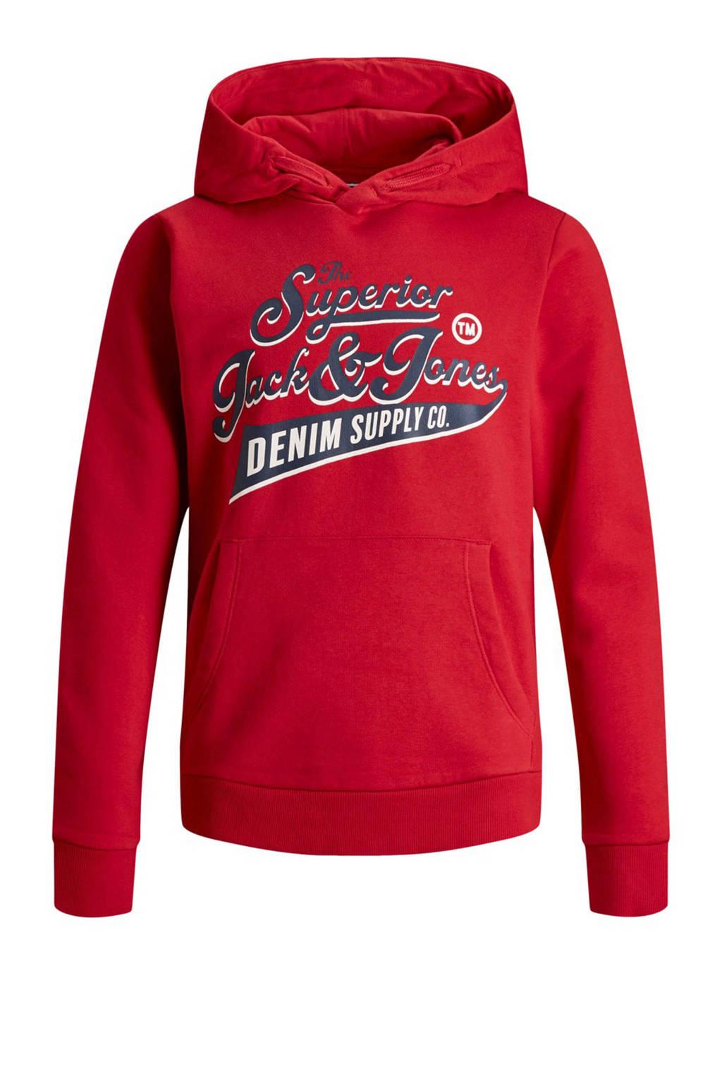 Jack & Jones Junior hoodie met kangeroezak rood, Rood