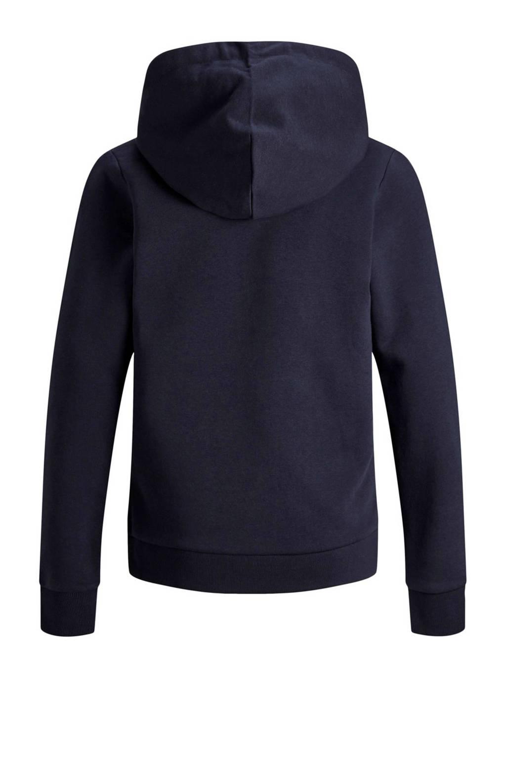 Jack & Jones Junior hoodie met kangeroezak blauw, Donkerblauw