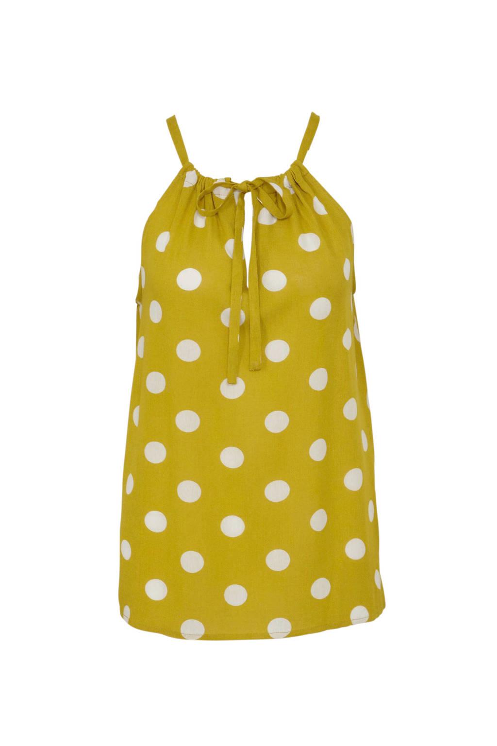 wehkamp top met stippen geel, Geel/wit