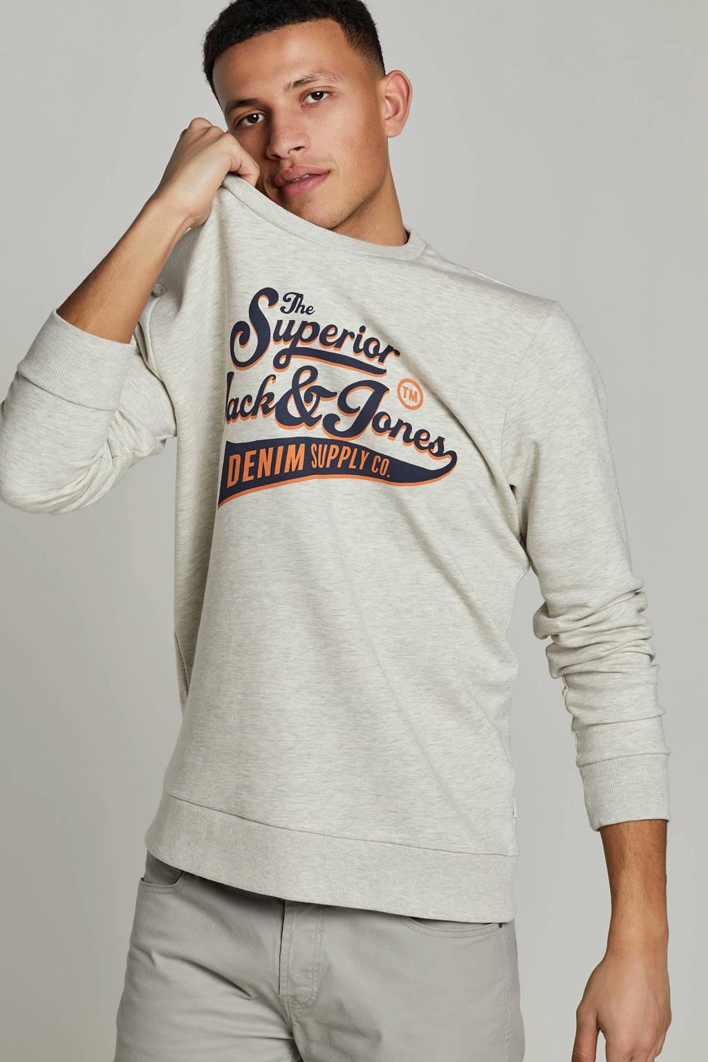 JACK & JONES ESSENTIALS sweater met logo, Grijs