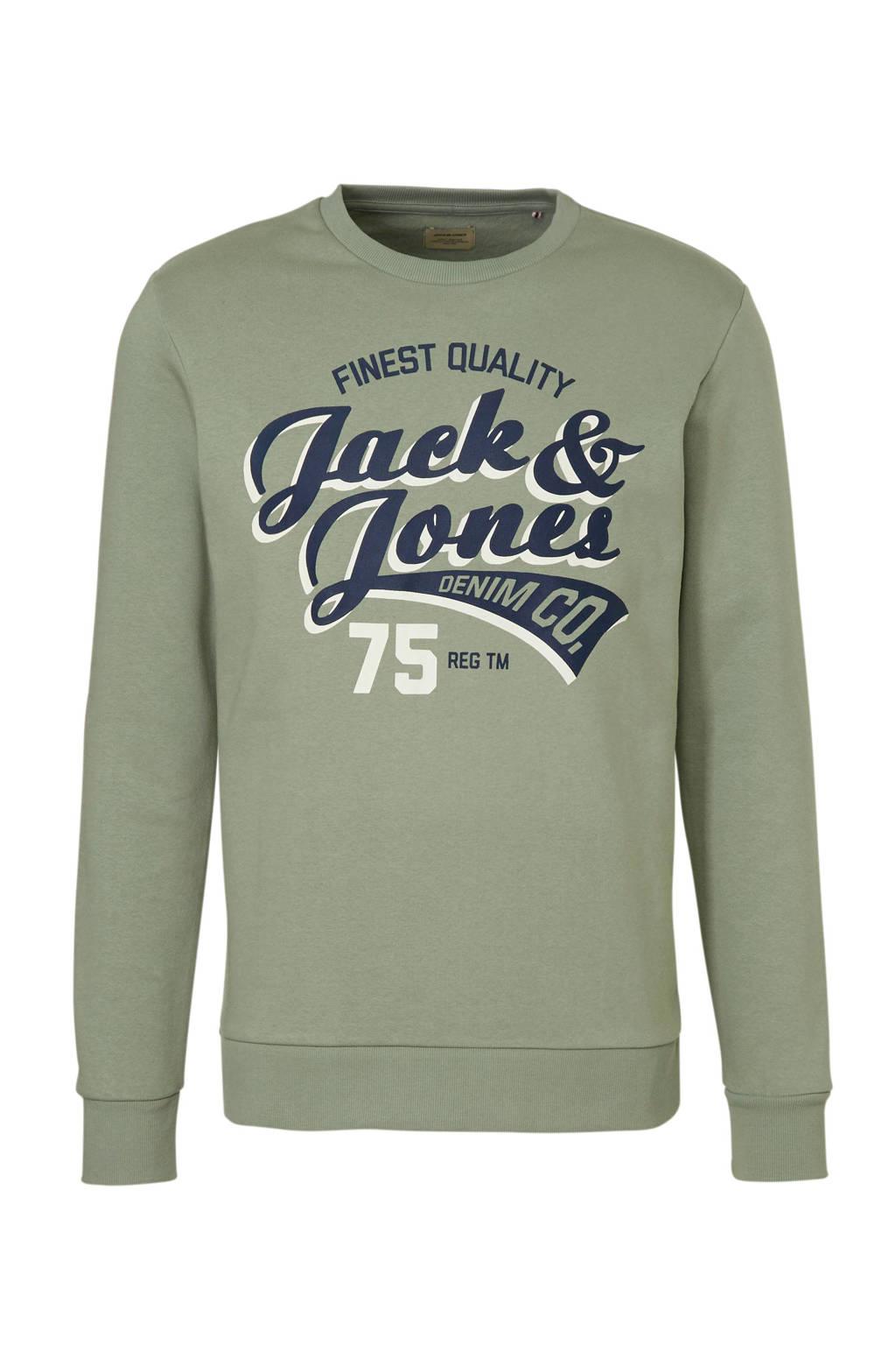 JACK & JONES ESSENTIALS sweater met logo, Groen