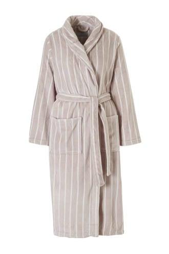 badjas met strepen taupe