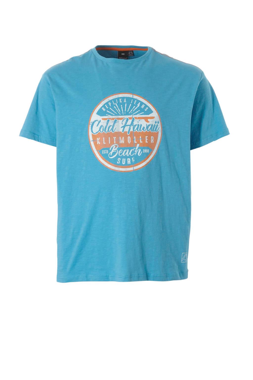 Replika +size t-shirt, Blauw