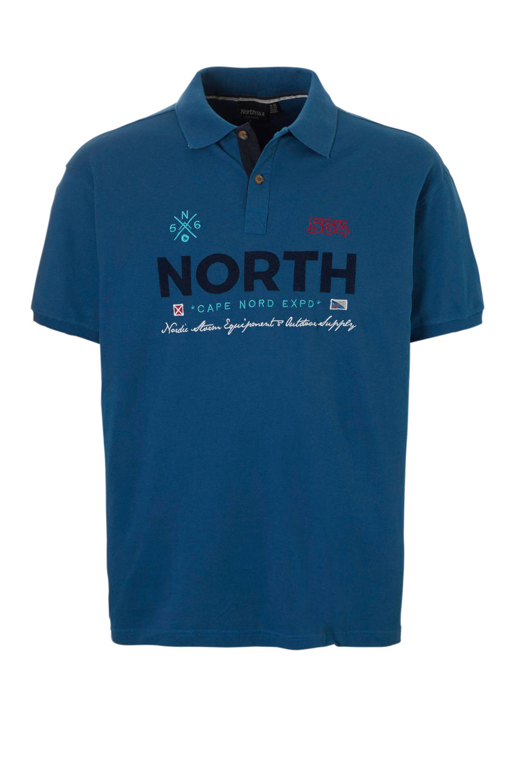 North 56°4 +size polo, Blauw