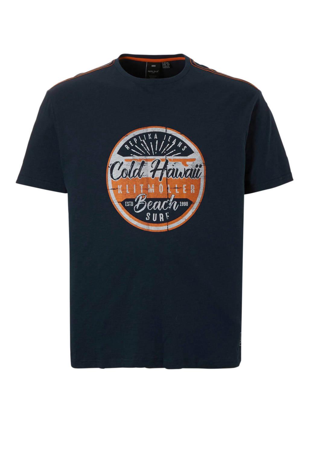 Replika +size t-shirt, Donkerblauw