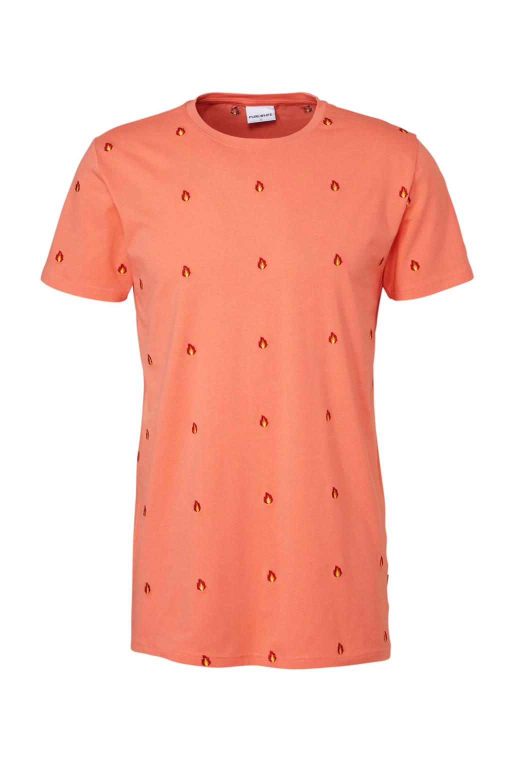 Purewhite T-shirt, Koraalrood