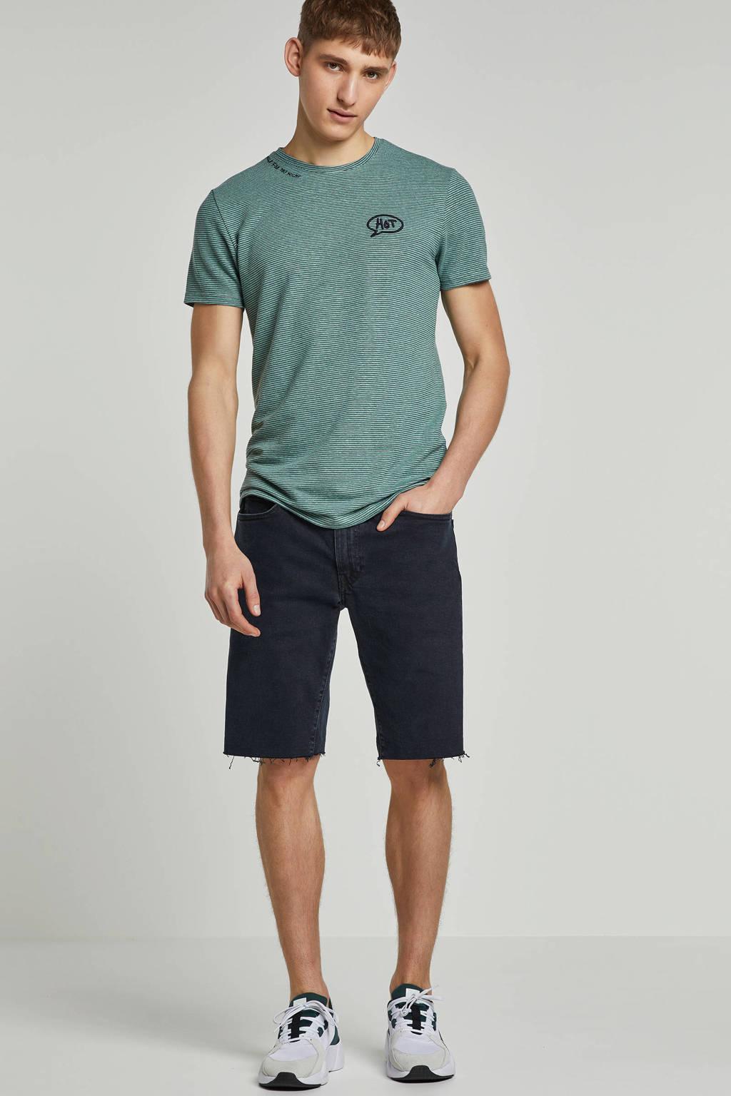 Purewhite T-shirt met borduursels en streep dessin, Groen/ Marine
