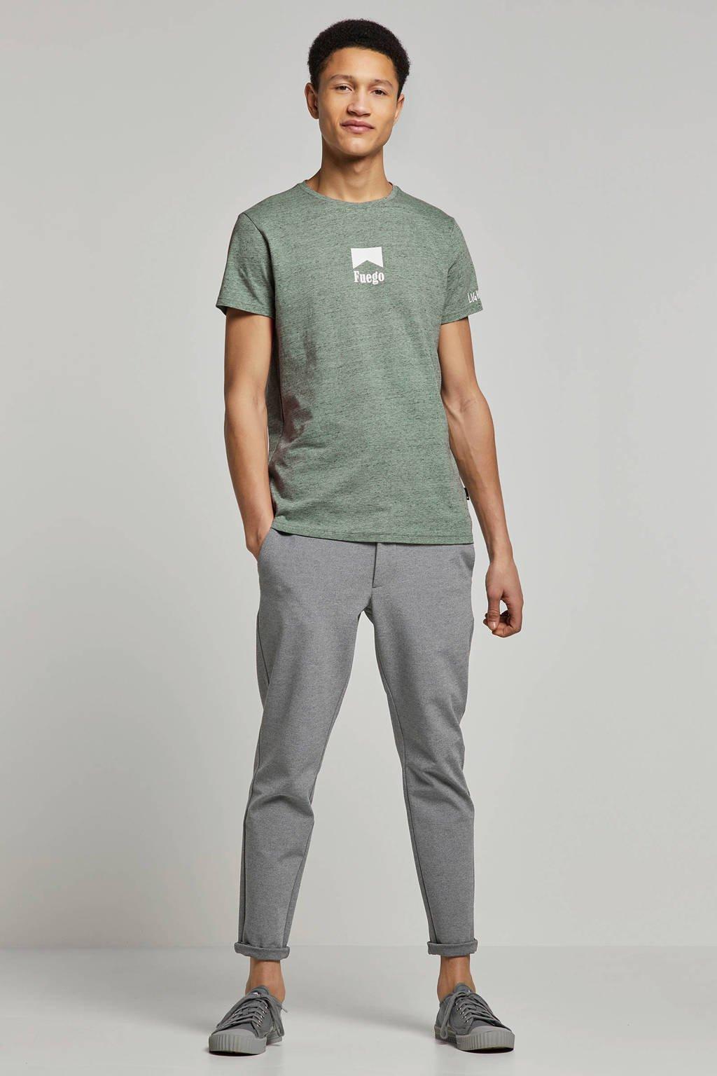Purewhite gemêleerd T-shirt met printopdruk groen, Groen