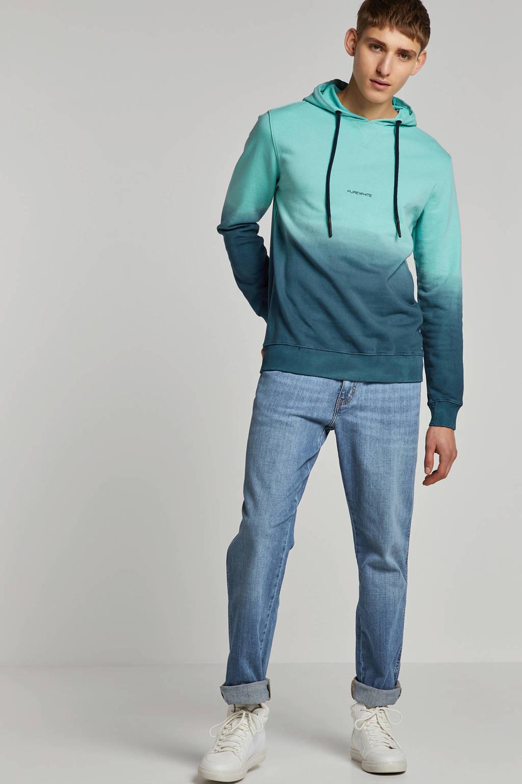 Purewhite hoodie groen, Groen/blauw